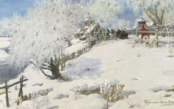 Фото обои зима, картина, Пейзаж