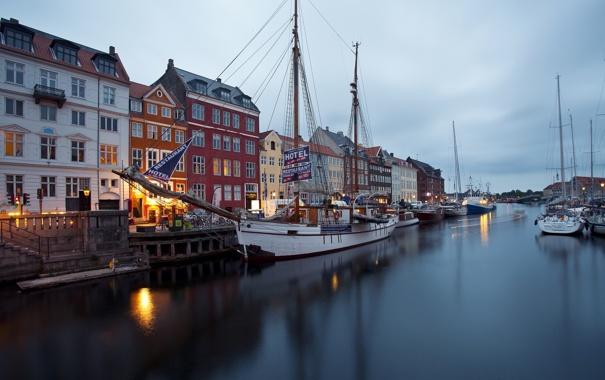 Фото обои здания, парусник, яхты, причал, Дания, набережная, Denmark