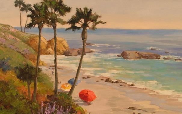 Фото обои зонты, скалы, зонтики, волны, море, пляж, берег