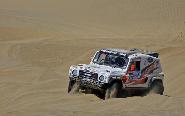 Фото обои Песок, Белый, Гонка, Land Rover, Rally, Dakar, Внедорожник