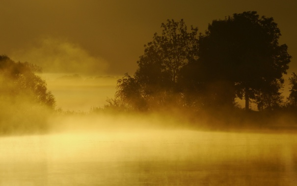 Фото обои закат, пейзаж, озеро, туман