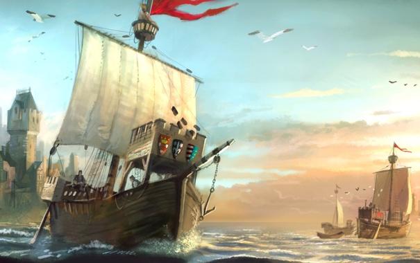 Фото обои море, чайки, арт, порт, герб, Anno 1404, бриг