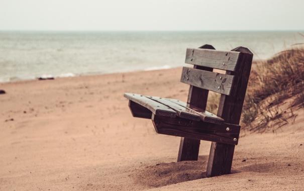 Фото обои море, пляж, скамья