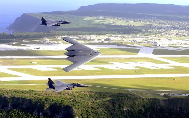 Фото обои море, поле, полет, ландшафт, истребитель, B-2, бомбардировщик