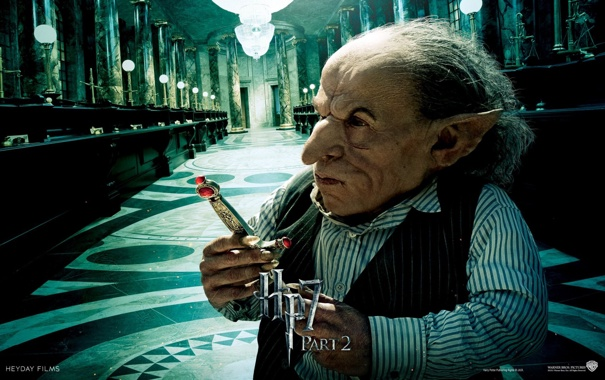 Фото обои кино, Гарри Поттер, гоблин, Harry Potter, Harry Potter and The Deathly Hallows part 2, франшиза, ...