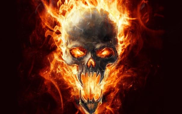 Фото обои огонь, пламя, череп, арт, клыки