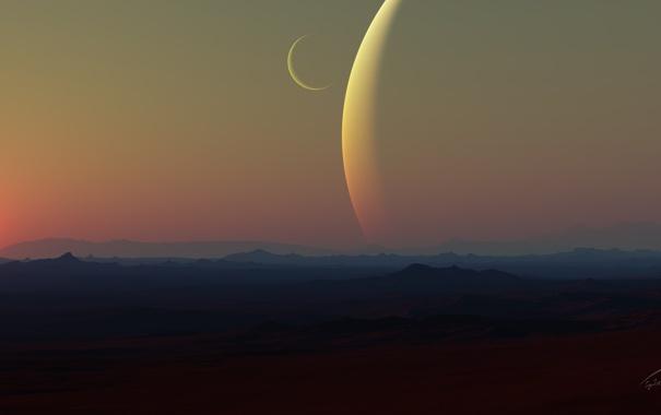 Фото обои солнце, поверхность, ландшафт, планета, спутник, арт, рельеф