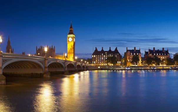 Фото обои небо, пейзаж, ночь, мост, city, город, lights