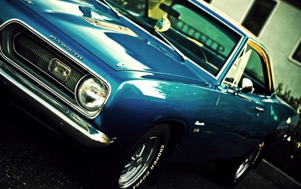 Фото обои синий, купе, мускул кар, Barracuda, Plymouth, передок, Muscle car