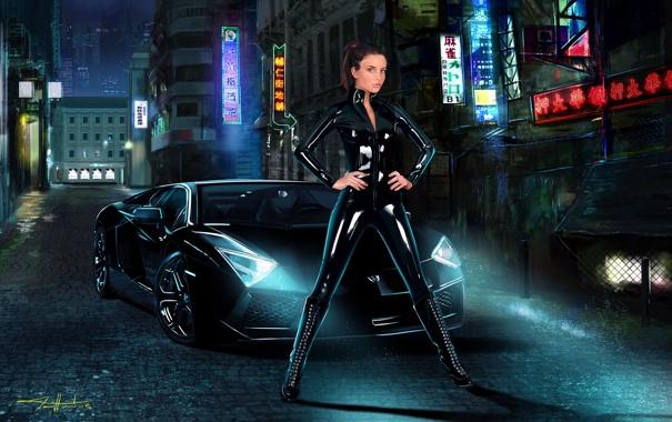 Фото обои машина, девушка, ночь, город, арт, lamborghini