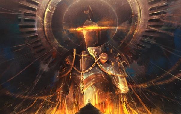 Фото обои огонь, человек, пирамида, броня, цепи