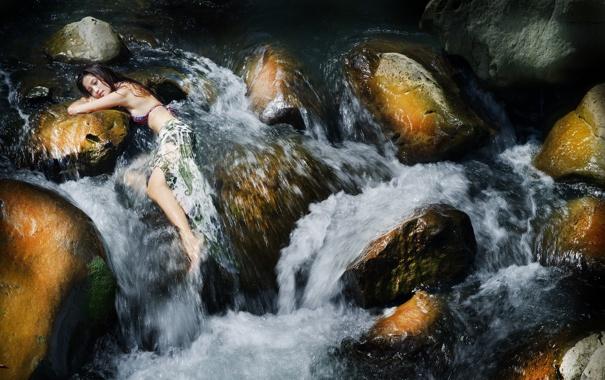Фото обои девушка, река, азиатка
