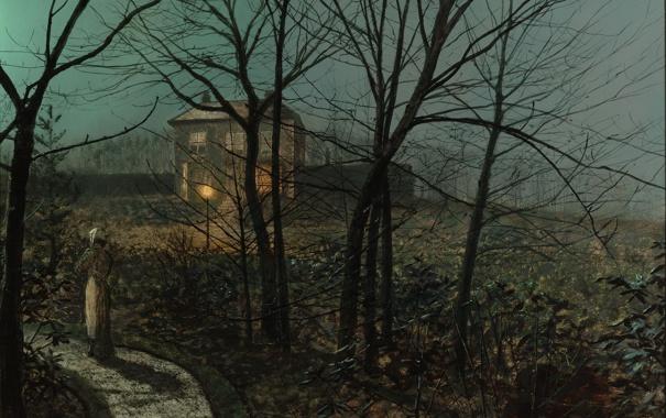 Фото обои картина, живопись, painting, 1882, John Atkinson Grimshaw, Woman on a Path by a Cottage