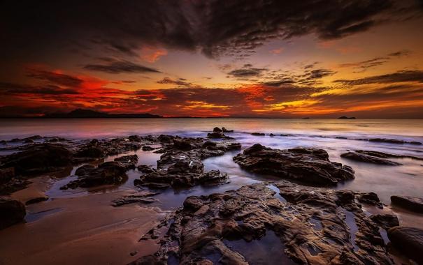 Фото обои пейзаж, океан, рассвет, берег