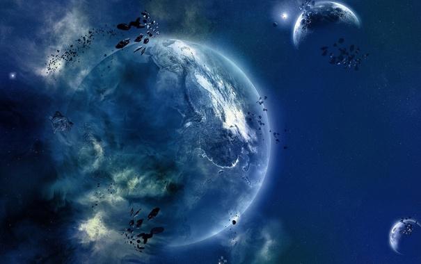 Фото обои пространство, камни, планета