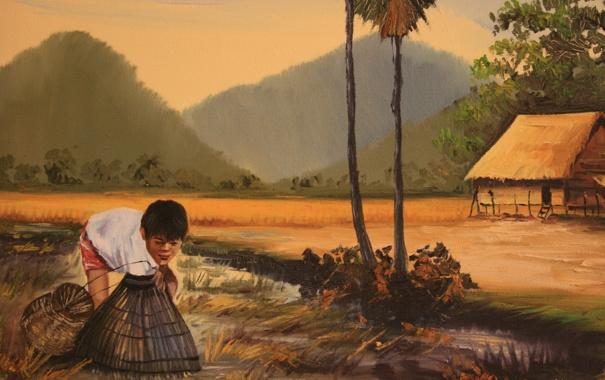 Фото обои рыбалка, картина, рыбак, мальчик, живопись, КАмбоджия