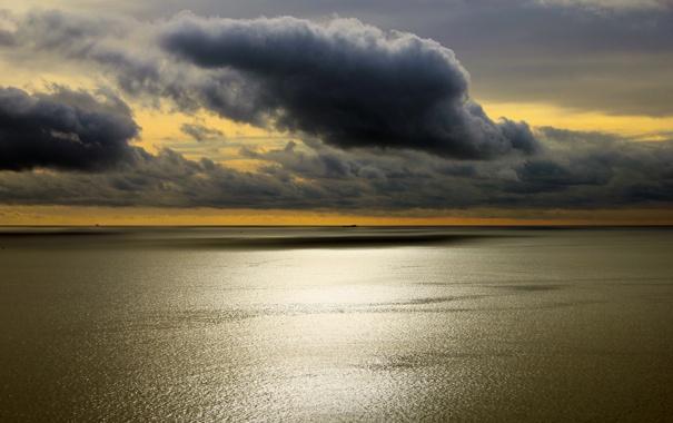 Фото обои облака, небо, гладь, море