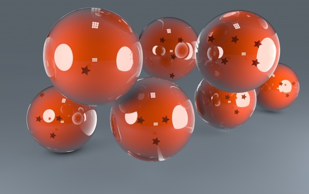 Фото обои обои, шары, оранжевые, отражение, стекло, звездочки