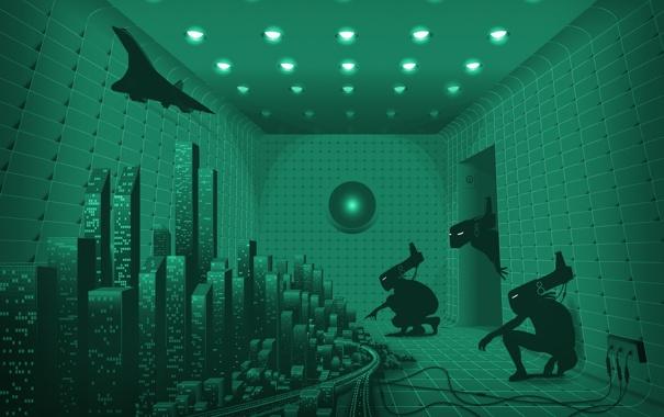 Фото обои город, самолет, Комната, существа, лампочки