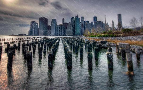 Фото обои Manhattan, Wallpaper, Rainy Day, City Scape