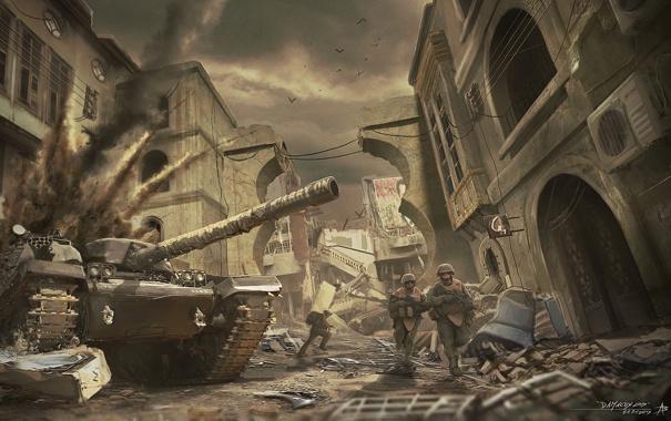 Фото обои город, война, солдаты, танк