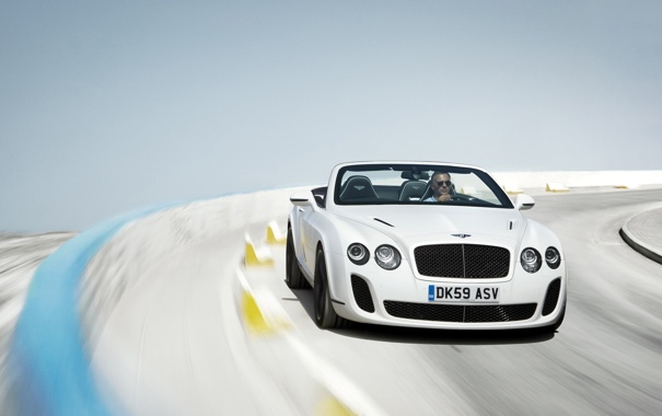 Фото обои дорога, Bentley, Continental, размытость, Convertible, Supersports