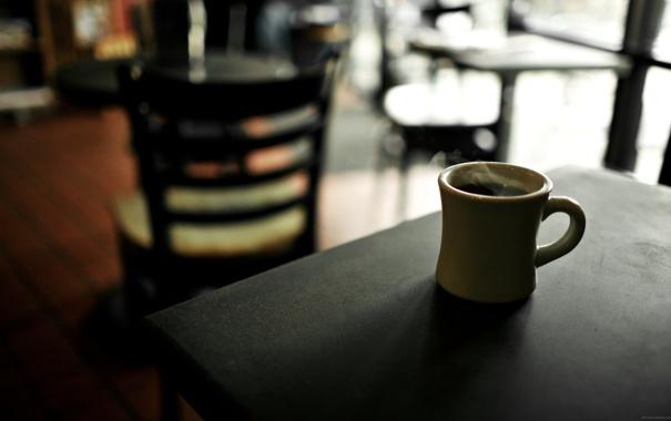 Фото обои стол, черный, кофе, горячий, кружка, кафе