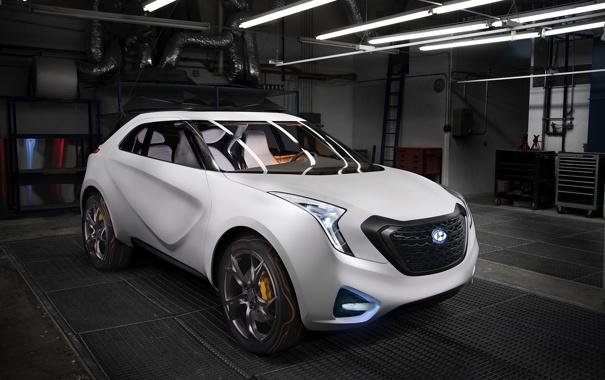Фото обои машина, авто, гараж, concept, концепт, hyundai, crossover