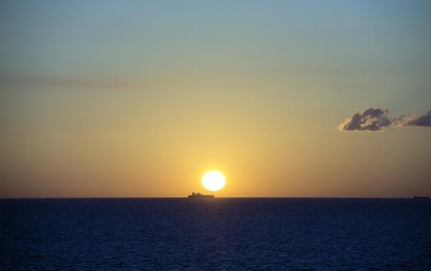 Фото обои море, пейзаж, корабль