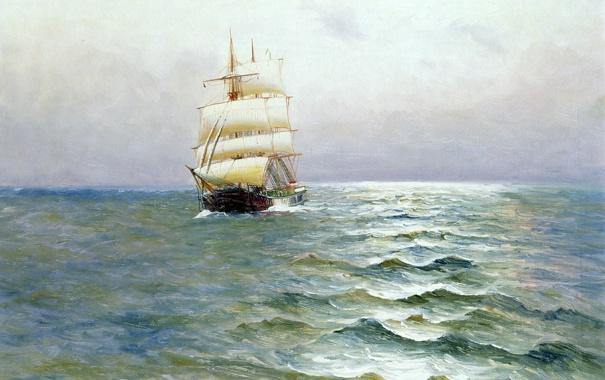 Фото обои пейзаж, небо, Alfred Jansen, паруса, корабль, картина, море