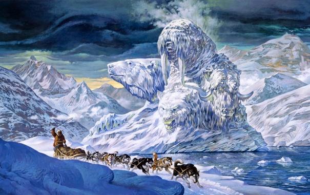 Фото обои животные, снег, горы, фантастика, волк, лёд, айсберг