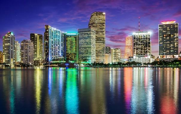 Фото обои ночь, город, отражение, Bill Dickinson, Tropical Blue
