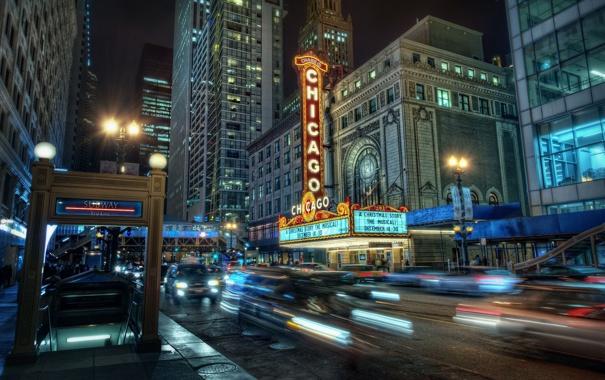 Фото обои огни, метро, здания, Чикаго, ночной город, Chicago
