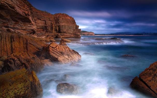 Фото обои море, небо, вода, облака, пейзаж, камни, скалы