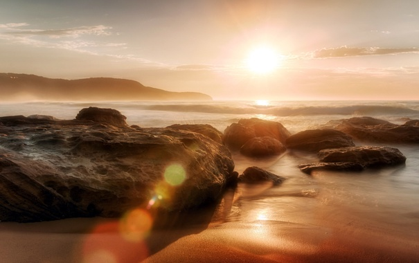 Фото обои sunrise, rock, Sunlight, ocean, central coast