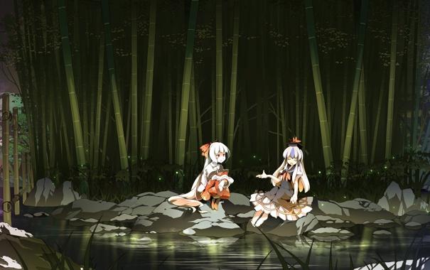 Фото обои деревья, природа, озеро, светлячки, камни, девушки, арт