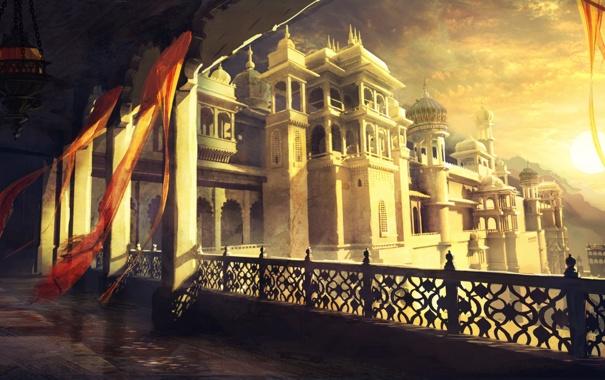 Фото обои окна, лампа, башни, дворец, Персия, Пески, Забытые