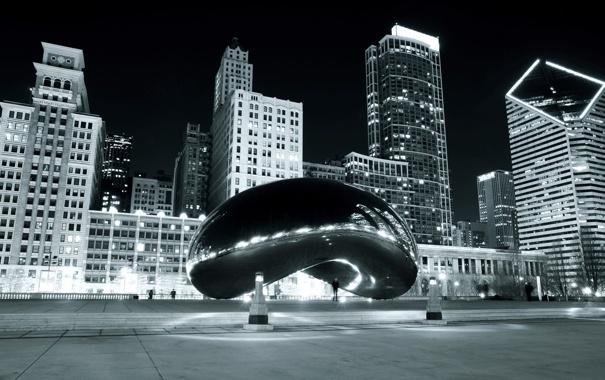 Фото обои Чикаго, Chicago, Building, Black and White, Millennium Park