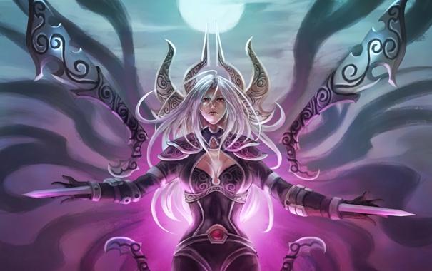 Фото обои девушка, оружие, волосы, арт, league of legends, irelia, monori rogue