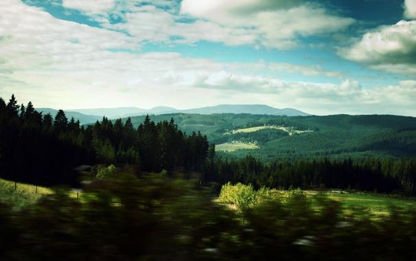 Фото обои landscape, лес, горизонт, пейзаж, облака, холмы, небеса