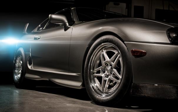 Фото обои свет, серый, тюнинг, вспышка, спорткар, полумрак, Toyota