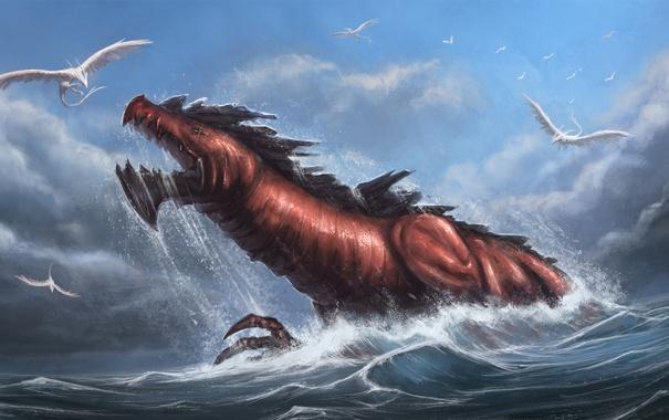 Фото обои море, птицы, дракон, чудовище