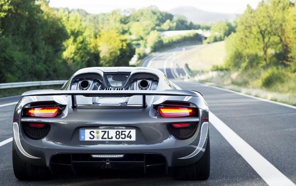 Фото обои дорога, Porsche, порше, Spyder, 918, гибрид, hybrid