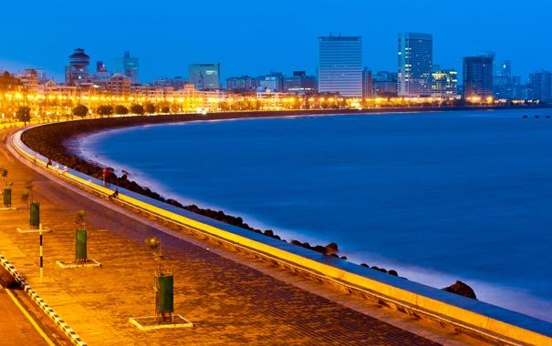 Фото обои огни, здания, Индия, набережная, India, Mumbai, Мумбаи