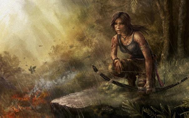Фото обои девушка, пистолет, оружие, Tomb Raider, Расхитительница гробниц