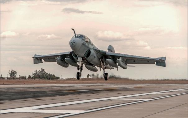 Фото обои самолёт, взлет, Prowler, палубный, EA-6B