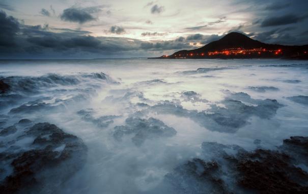 Фото обои море, пейзаж, ночь
