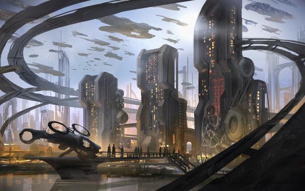 Фото обои город, будущее, фантастика, небоскребы, spaceships