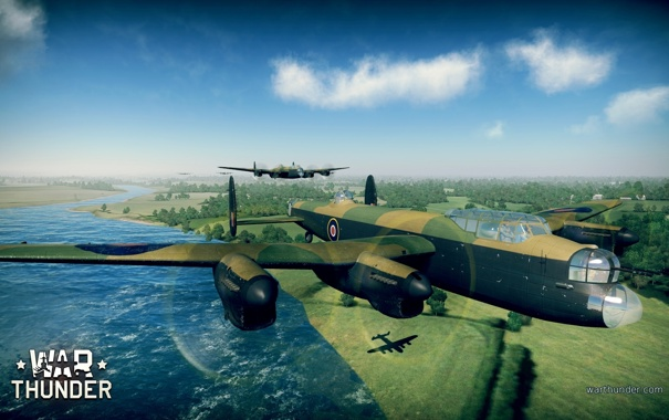 Фото обои деревья, река, земля, тень, самолёты, WW2, британские