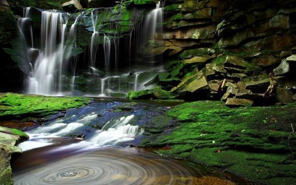 Фото обои зелень, деревья, камни, водопад, Вода